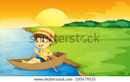boy in a boat at sunset