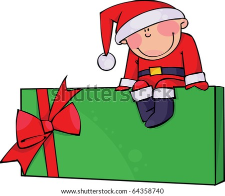 Boy in a Santa suit sitting on a gift box