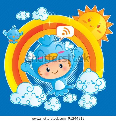 Boy in Blue Bird Costume - stock vector