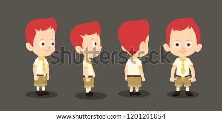 Boy in different angles. Cute boy in school uniform. Smile on boy face.