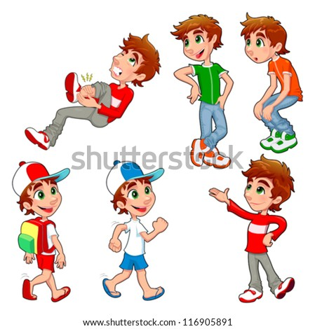 Boy in different poses and expressions Vector isolated characters