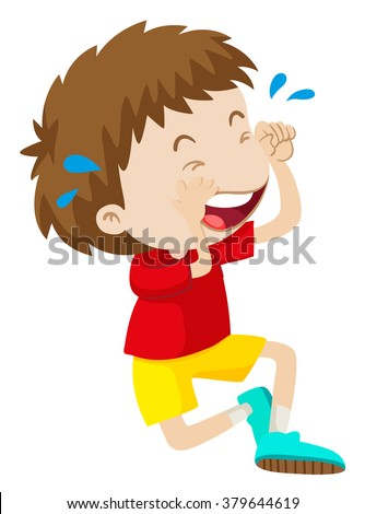Boy in red shirt crying illustration