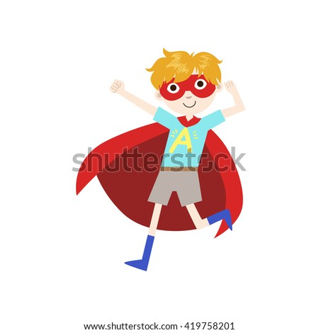 boy in superhero costume with