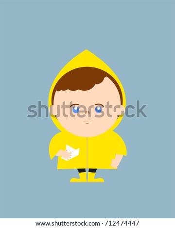 boy in yellow raincoat and