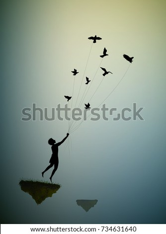 boy  is flying away and holding pigeons, fly in the dream land,fly away to the sun, shadows, life on flying rock, silhouette.