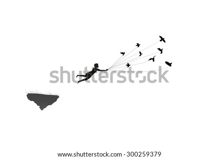 boy  is flying away and holding pigeons, fly in the dream land, shadows, life on flying rock, silhouette.