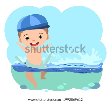 Boy is having fun. Waves of water river, sea or ocean. Swimming, diving and water sports. Pool. Isolated on white background. Illustration in cartoon style. Flat design. Vector art