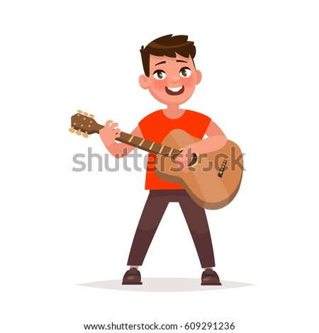 boy is playing the guitar