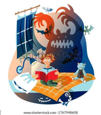 Boy is reading horror book. Kid sits on bed in children's bedroom. Silhouette of scary ghost scares child, monster under bed. Vector character illustration of child literature, frightened imagination ストックフォト ©