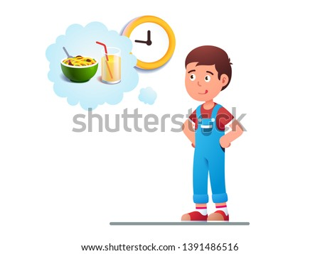 Boy kid dreaming to eat breakfast concept. Imagining noodles food and glass of juice. Hungry child waiting for a morning first meal with tong out licking lips. Flat vector character illustration