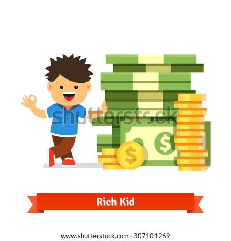 Boy kid standing and leaning to a huge pile of money. Stacked dollar bills and coins. Children savings and finance concept. Flat style cartoon vector illustration isolated on white background.