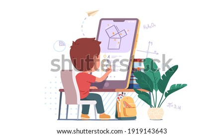 Boy kid student solving geometry problem on big mobile cell phone screen studying online. Child person learning or doing test sitting at home desk. Distance education concept flat vector illustration Foto d'archivio ©