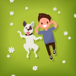 Boy lies with the dog on the lawn. Vector illustration of a flat design