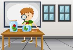 Boy looking at ladybug in classroom illustration