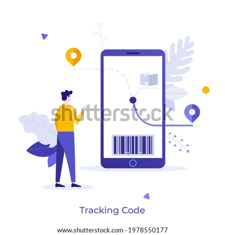 Boy looking at parcel journey on smartphone screen. Concept of digital code to track shipments or check order status, waiting for package delivery. Modern flat vector illustration for banner, poster. Stock photo ©