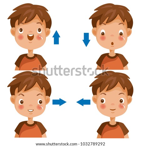 Boy looking to the copy space area. looking up, Looking down,  left,  right, Cartoon cute little boy in red shirt. Different gestures and emotions. Vector illustrations isolated on white background.