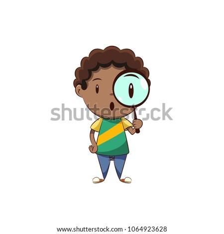 boy magnifying glass
