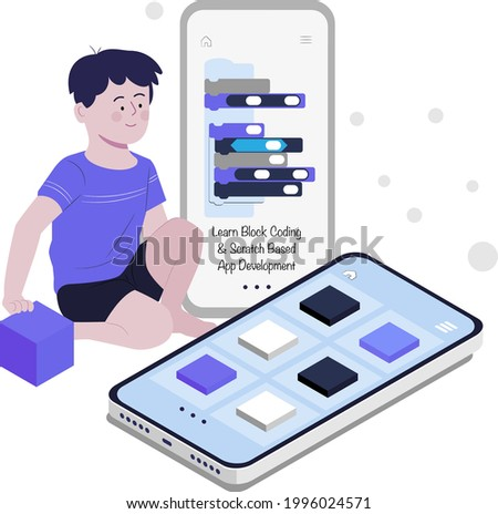 boy making mobile app using block coding flat design illustration, scratch, online coding, coding for kids, kid assembling scratch code, learn coding using scratch, game development, app development