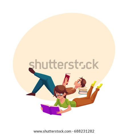 boy  man reading book and woman