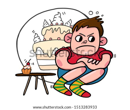 boy offended, glutton, vector illustration of a sweet tooth, vector card with a child