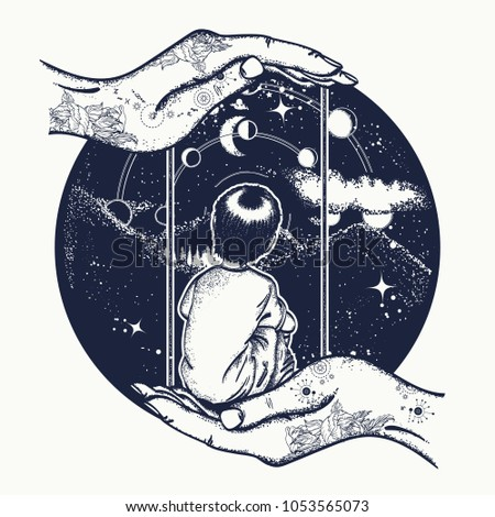 Boy on a swing in mountains, tattoo art. Lunar phases and Universe. Dreaming genius t-shirt design. Symbol of poetry, psychology, philosophy, astronomy, science