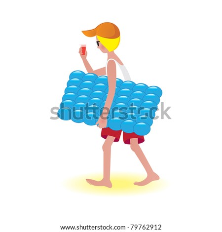 Boy on air mattress. Illustration on white background