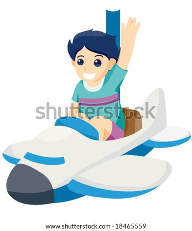 Boy on Airplane Ride - Vector