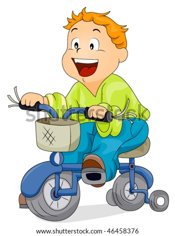 Boy on Bicycle - Vector