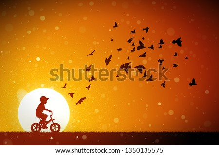 boy on bike and pigeons at red