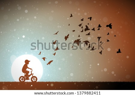 boy on bike and pigeons at