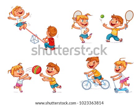 Boy on bike. Girl on scooter. Children ride on a swing. Boy and girl playing with a ball. Brother and sister playing tennis. Funny cartoon character. Isolated on white background. Vector illustration