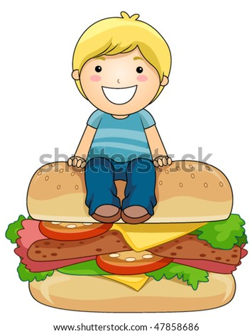 Boy on Burger - Vector