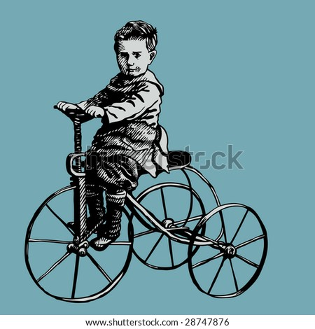 boy on retro bicycle. engraving style vector illustration.