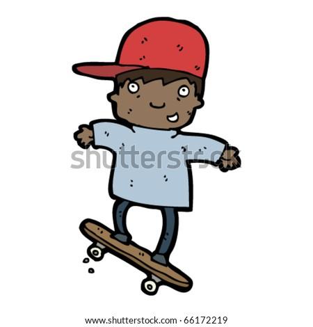stock vector boy on skateboard cartoon