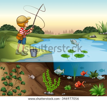 boy on the river bank fishing