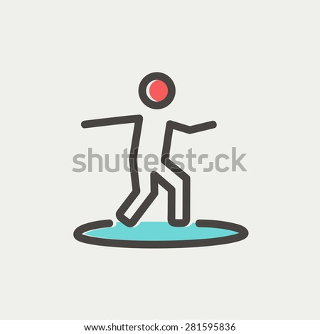 boy on the surf board icon thin