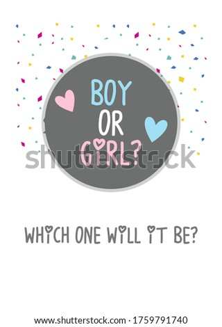 Boy or girl? Gender reveal party invitation card vector design Photo stock ©