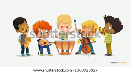 Boy Orchestra Play Different Music Instrument. Jazz Band Performance. Trumpet, cello, ukulele, tympani drums, saxophone. Pupil Acoustic Star. Drum Stereo Sound Flat Cartoon Vector Illustration Stock fotó ©