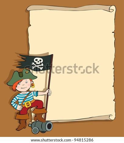 boy pirate with scroll vector