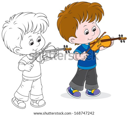 Boy Playing Violin Drawing Boy Playing a Violin