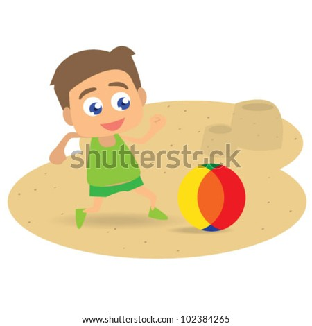 boy playing ball on beach illustration