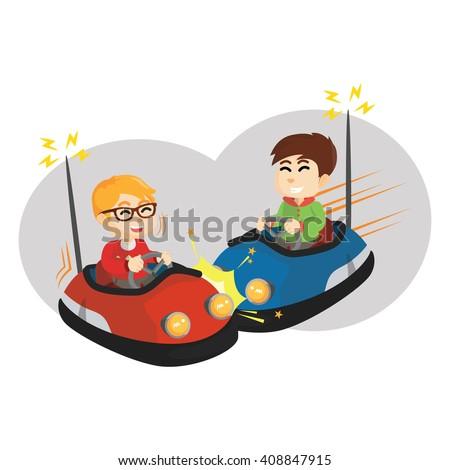 boy playing bumper car with