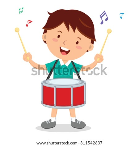boy playing drum vector