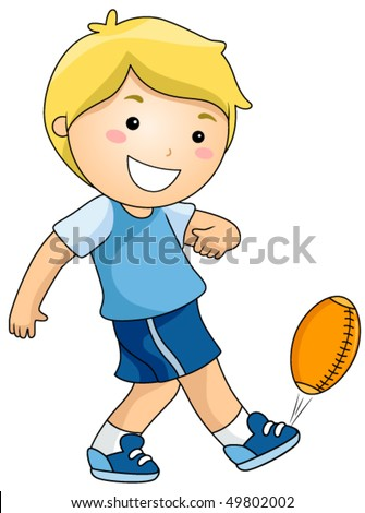 Boy playing Football - Vector