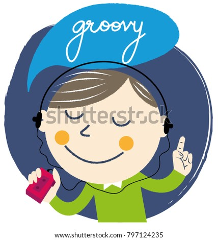 Boy playing groovy music on walkman