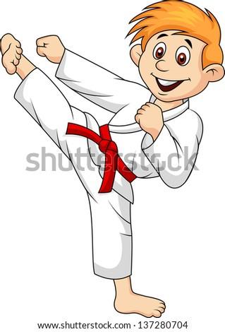 Boy playing karate