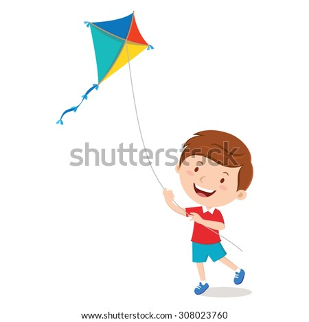boy playing kite vector