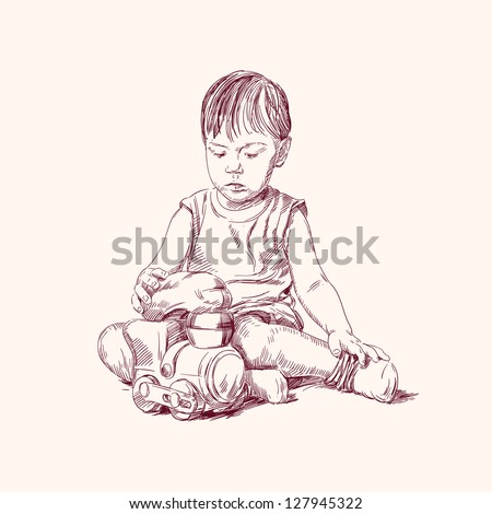 boy playing on the floor with a train hand drawn vector illustration
