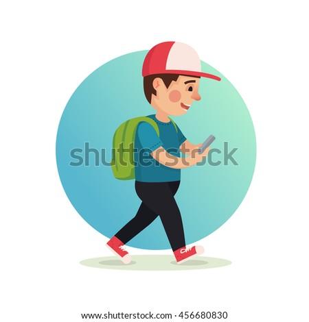 boy playing smartphone cartoon