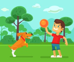 Boy playing with cute dog. Vector flat cartoon illustration
